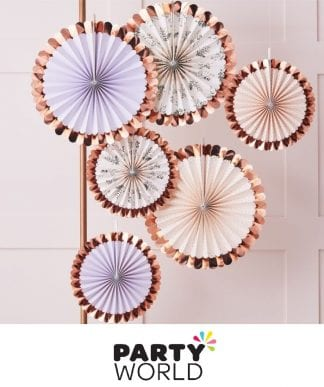 Rose Gold Botanical Foiled Fan Decorations (6)