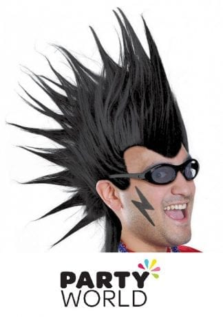 Mohawk Mens Black Wig