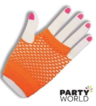 Orange Neon Fingerless Fishnet Gloves