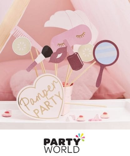 Pamper Party Pink Glitter Gold Foiled Photo Booth Props (10)