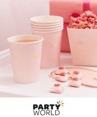 Pamper Party Pink Gold Foiled Sleepy Eye Paper Cups (8)