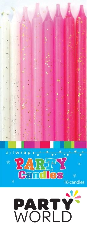 Pink Assorted Glitter Tall Candles (16)