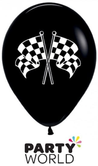 Racing Flag Balloons White On Black 30cm (6)