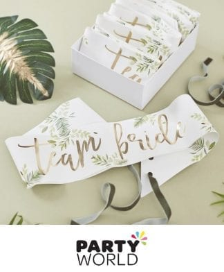 Team Bride Botanical Foiled Gold Party Sashes (6)
