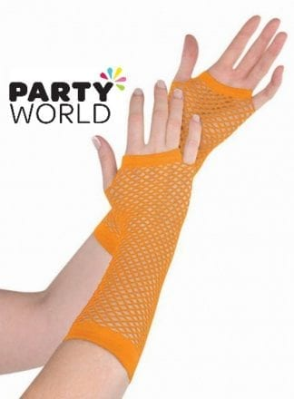 Totally 80's Orange Fishnet Gloves (1 pair)