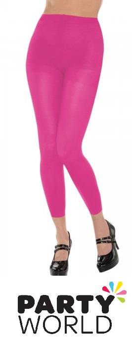 Totally 80's Pink Neon Footless Tights
