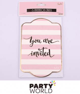 pink & gold invitations