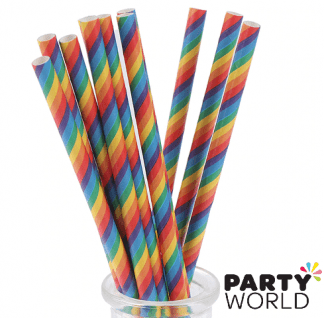 rainbow striped straws