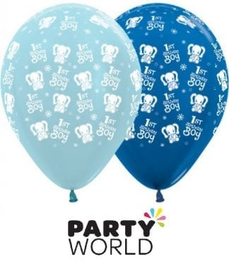 1st Birthday Boy Elephant Blue Assorted Latex Balloons (6)