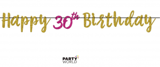 30th birthday pink & gold banner