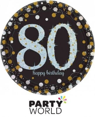 80th Birthday Sparkling Celebration Prismatic Plates (8)
