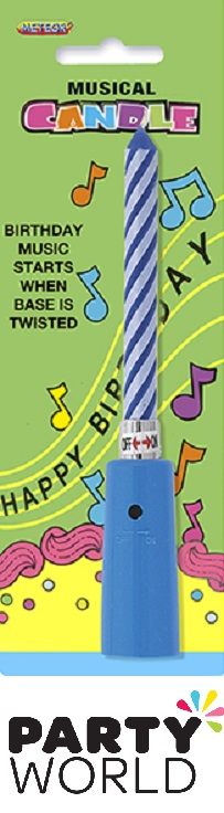Blue Striped Musical Twist Candle