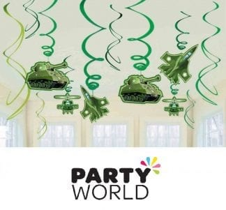 Camouflage Party Swirl Hanging Decorations