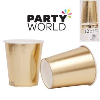 Champagne Gold Foil Paper Cups 200ml (12pk)