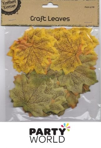 Craft Leaves Green And Orange - Pack Of 50