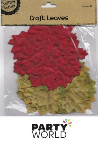 Craft Leaves Red And Green - Pack Of 50