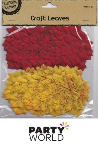 Craft Leaves Red And Orange - Pack Of 50