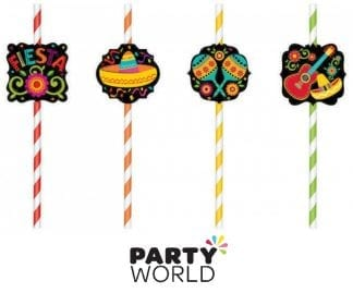 Fiesta Party Paper Straws With Cutouts (12)