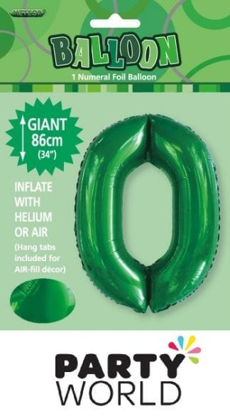 Giant Emerald Green Foil Number Balloon - 0