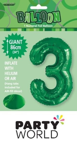 Giant Emerald Green Foil Number Balloon - 3