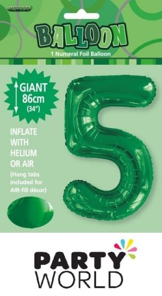Giant Emerald Green Foil Number Balloon - 5