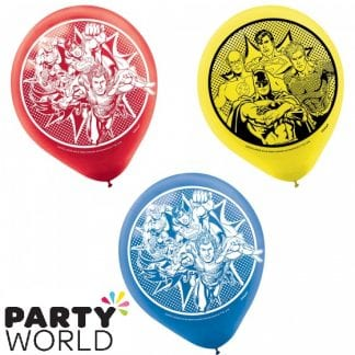Justice League Heroes Unite 30cm Latex Balloons (6)