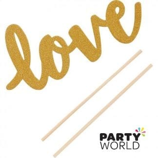 Love Glittered Cake Pick Decoration