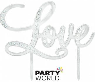 Love Silver And Diamantes Cake Topper