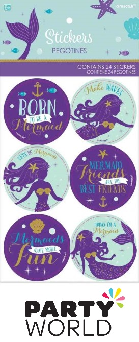 Mermaid Wishes Party Stickers (24pk)