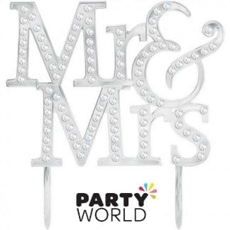 Mr and Mrs Silver And Diamantes Cake Topper