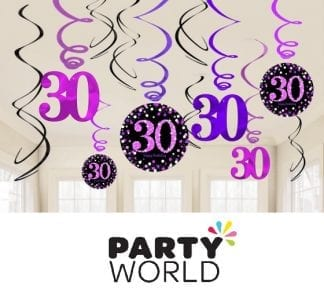 Pink Celebration 30th Birthday Swirl Decorations (12pk)