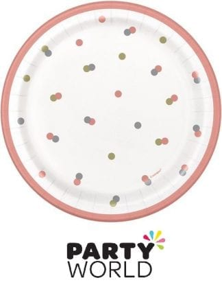 Rose Gold Dots 7inch Paper Plates (8)
