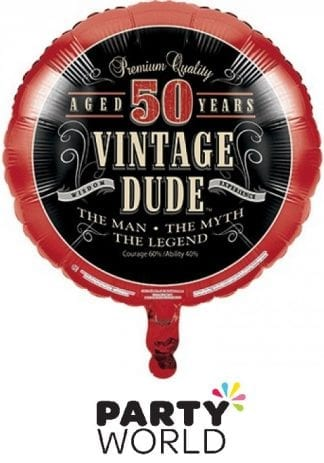 Vintage Dude 50th Round Foil Balloon