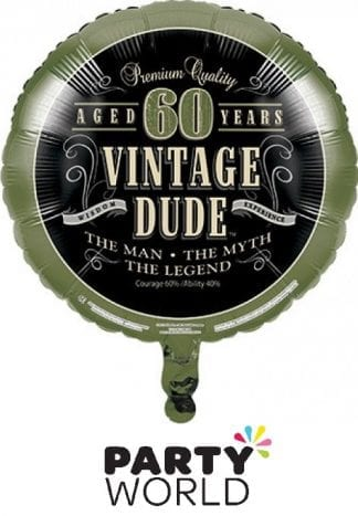 Vintage Dude 60th Round Foil Balloon