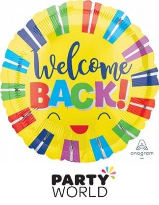 Welcome Back Colourful Stripes Foil Balloon