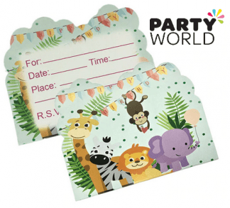 jungle animals party invites