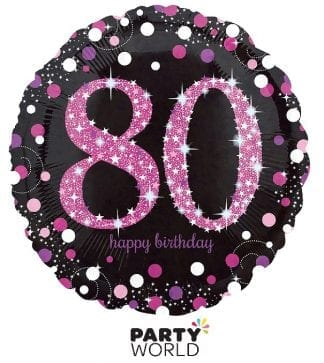 80th pink foil balloon