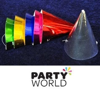 Foil Party Cone Hats Assorted Colours (6)