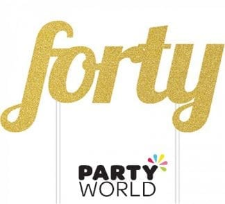 Gold Forty Glittered Party Cake Topper
