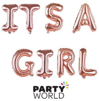 Its A Girl Rose Gold Balloon Banner