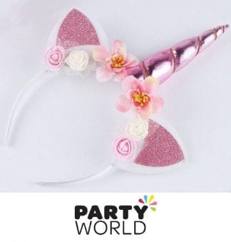 Unicorn Horn Headband - Pink Horn And Pink Ears