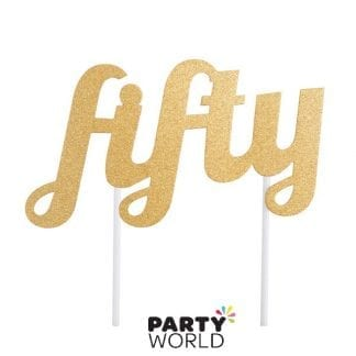 fifty 50th cake topper gold