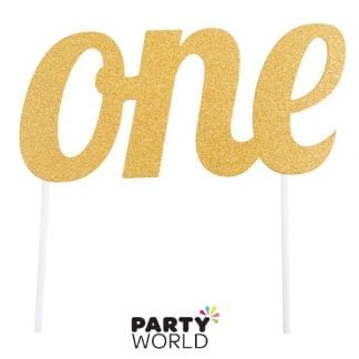one gold paper cake topper