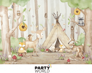 woodland themed backdrop camping