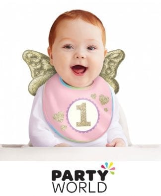 1st Birthday Girl Bib With Gold Angel Wings