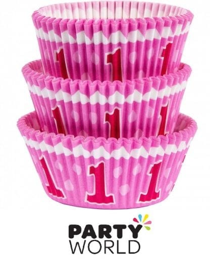 1st Birthday Girl Pink Baking Cups (75)