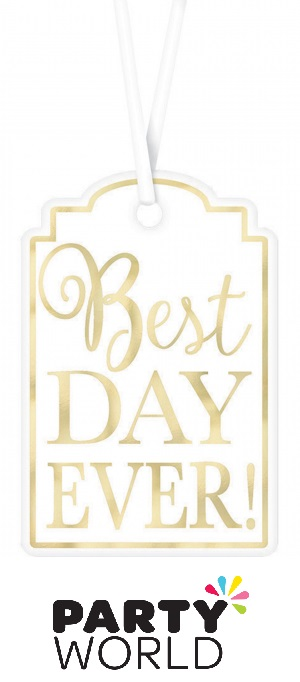 Best Day Ever White And Gold Gift Tags (25pk)