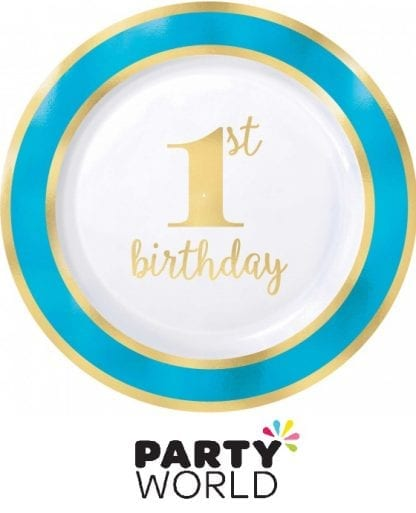 Blue And Gold 1st Birthday Plastic Plates 7.5in (10pk)