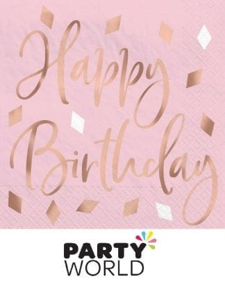 Blush Pink And Rose Gold Happy Birthday Beverage Napkins (16)