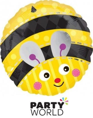 Bumble Bee Party Cute Round Foil Balloon